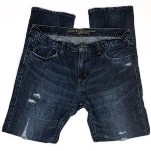 American Eagle Slim Straight Fit Distressed Jeans